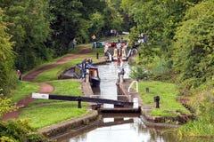 Narrowboats, van Worcester en van Birmingham Kanaal, Engeland royalty-vrije stock afbeeldingen