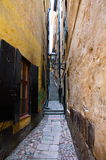 The narrowest street. Located in the capital of Sweden - Stockholm Royalty Free Stock Image