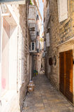 The narrowest street in the old Budva, Montenegro royalty free stock photo