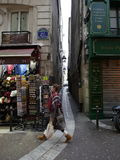 The narrowest street in Paris---Rue de Chat qui peche. Paris, France-November 23,2016:Rue de Chat-qui-peche is the narrowest street in Paris. Its width is only 6 Royalty Free Stock Photos