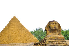 The narrowing of the imitation of The Egyptian pyramids and the Sphinx Stock Image