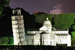 The narrowing of the imitation of Leaning Tower of Pisa Italy night Stock Photos