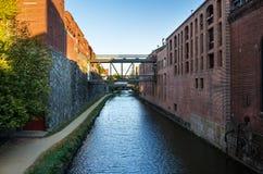 Narrowl沿一条运河的石渣小径在日落 库存图片