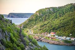 The Narrows leading to port in St. John`s, Newfoundland, Canada. The Narrows leading to port in St. John`s, Newfoundland and Labrador, Canada Stock Image
