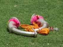 NARSINGA -印地安传统乐器 免版税库存图片