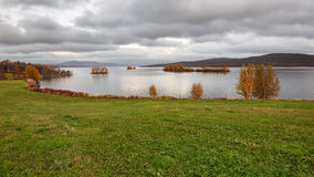 Narsjoen lake with small islands in autumn,  Norway Royalty Free Stock Images
