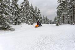 Narta patrol ewakuuje zdradzonej narciarki obrazy stock
