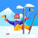 Narta, zima, śnieg, narciarki i zabawa, - rodzinna cieszy się zima Obraz Royalty Free