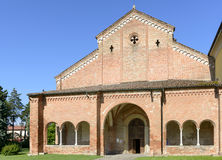 Narthex and church facade, Abbadia Cerreto Royalty Free Stock Image