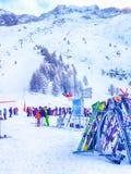 Narty i skłonu widok przy Les Grands Montets, Chamonix fotografia stock