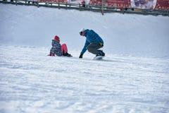 Narty szkoła snowboarders Obraz Royalty Free