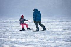 Narty szkoła snowboarders Obrazy Royalty Free
