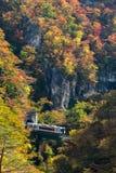 Naruko-Schluchttal mit Bahntunnel in Miyagi Tohoku Japan Lizenzfreies Stockfoto