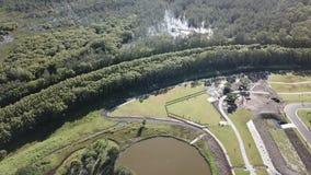 Narure aerial view Morning Light Lake view Labrador Queensland ,Australia stock video footage