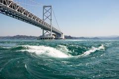 Naruto旋涡在大浪的,德岛,日本 库存照片