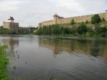 Narva castle Estonia Ivangorod Russia Royalty Free Stock Image