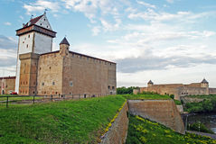 Narva Castle and Ivangorod fortress royalty free stock photography