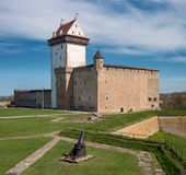 Narva, Estonia - Herman Castle on the banks of the river, opposite the Ivangorod fortress. Stock Photo