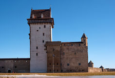 Narva, Estonia - Herman Castle on the banks of the river, opposite the Ivangorod fortress. Royalty Free Stock Image