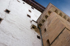 Narva, Estonia - Herman Castle on the banks of the river, opposite the Ivangorod fortress. Close-up. Stock Photo