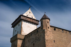 Narva, Estonia - Herman Castle on the banks of the river, opposite the Ivangorod fortress. Close-up. Royalty Free Stock Photos