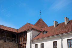 Narva, Estonia - Herman Castle. Tile roofs of buildings around the castle. Close-up. Stock Photo
