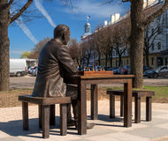Narva, Estonia - May 4, 2016: monument to the famous Estonian chess player Paul Keres. Installed near Peter's Square. Royalty Free Stock Images