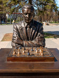 Narva, Estonia - May 4, 2016: monument to the famous Estonian chess player Paul Keres. Installed near Peter's Square. Royalty Free Stock Photography