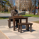 Narva, Estonia - May 4, 2016: monument to the famous Estonian chess player Paul Keres. Installed near Peter's Square. Royalty Free Stock Image