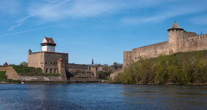 Narva, Estonia - View of Herman Castle and Ivangorod Fortress on the part of the Narva River. Stock Photo