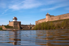 Narva, Estonia - View of Herman Castle and Ivangorod Fortress on the part of the Narva River. Royalty Free Stock Image