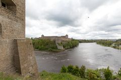 Narva and Ivangorod castles on the border between Russia and Est stock images
