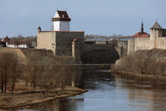 Narva and Ivangorod fortresses Stock Images