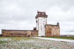Narva l'Estonie Hermann Castle en hiver photographie stock libre de droits