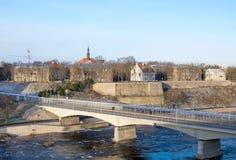 Narva l'Estonie Pont de l'amitié image libre de droits