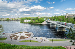 Narva river embankment and a beautiful view of the Ivangorod Fortress and the border of Russia and the European Union Royalty Free Stock Photo