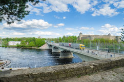Narva river embankment and a beautiful view of the Ivangorod Fortress and the border of Russia and the European Union Stock Photography