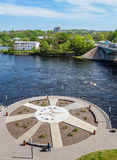 Narva river from Estonian side with walkway Royalty Free Stock Image