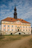 Narva Town Hall. The building of the Town Hall was restored after the war, example of baroque architecture of the Old Town Stock Photo