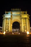 Narva Triumphal Arch at night in Saint Petersburg, Russia Royalty Free Stock Photo
