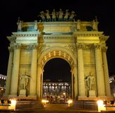 Narva Triumphal Arch at night in Saint Petersburg, Russia Stock Images
