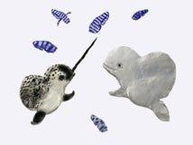 Narval y beluga Imagen de archivo