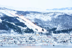Narvik Cityscape Skiing Stock Photo