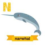 narwhal N信件 逗人喜爱的在传染媒介的儿童动物字母表 Funn 免版税图库摄影