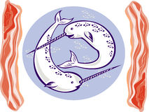 Narwhal whales and bacon. Illustration of two narwhal Monodon monoceros unicorn whale with tusk horns set inside oval done with bacon on side Royalty Free Stock Photography