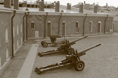 Naryshkin bastion with cannons. Sepia Stock Photo