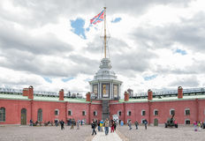 Naryshkin Bastion and Flag Tower of Peter and Paul Fortress Royalty Free Stock Images