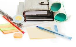 Narysu papieru, rękojeści, ołówkowego i elastycznego zespół, zdjęcie stock