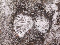 Narysy w zamarzniętym cienieją lód zdjęcie royalty free