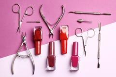 Narzędzia dla manicure'u i gwoździa połysku zdjęcia stock